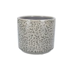 Ceramic Pot Cover - 14cm - Grey Succulents