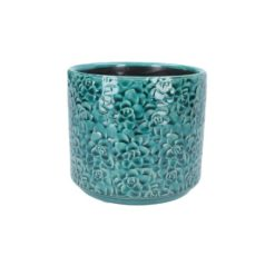 Ceramic Pot Cover 14cm - Teal Succulents