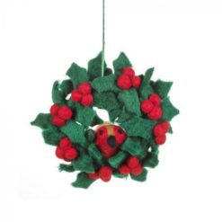 Christmas Decoration - Handmade Felt Holly Mini Wreath with Robins