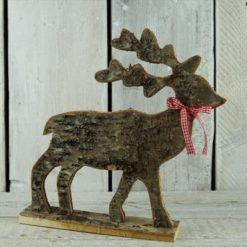 Christmas Decoration - Birch Bark Flat Standing Deer - 31cm