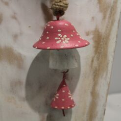 Painted Wooden Mushroom With Bell - Pink