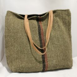 Recycled Cotton Khadi Shoulder Bag - Olive