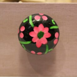 Ceramic Hand Painted Pink and Black Carved Flower Door Knob