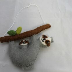 Hanging Felt Sloth Mother And Baby