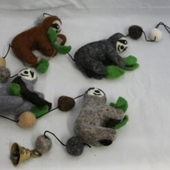Hanging Felt Sloths with Bell