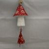 Painted Wooden Mushroom With Bell - Red